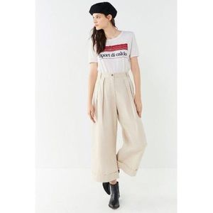 UO Davie Wide Leg Chino Pant In Beige New Size: 0